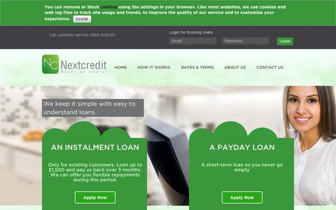 Screenshot of Home Page About Page Privacy Page Contact Page FAQ Page Site Map Page nextcredit.co.uk - Payday Loans, Cash Advances and Installment Loans | NextCredit - captured Oct. 7, 2014