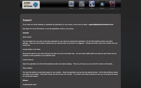 Screenshot of Support Page globalalertnetwork.com - Global Alert Network - captured Sept. 30, 2014