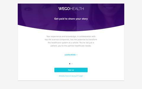 Screenshot of Signup Page wegohealth.com - WEGO Health - captured Sept. 9, 2019