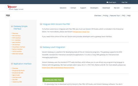 Screenshot of Developers Page voicent.com - PBX Developer Platform API   IP PBX Developer API   Skype PBX   SIP PBX   Phone System   PBX Hosting   Flex PBX Software - captured Dec. 11, 2018