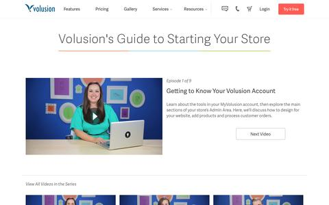 Screenshot of volusion.com - Create an Online Store - Volusion Getting Started Video Series - captured March 24, 2016