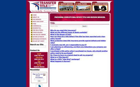 Screenshot of FAQ Page transfertitle.com - FAQs - Transfer Title Agency - captured Oct. 7, 2014