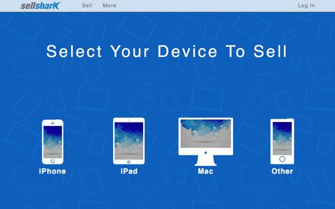 Screenshot of Home Page sellshark.com - Sell any Used, New, or Broken Apple Product instantly. - captured Oct. 12, 2015