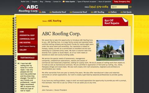 Screenshot of About Page abcroofingcorp.com - Licensed Roofing Contractors Coral Springs   Roof Repairs   Reroof - captured Sept. 30, 2014