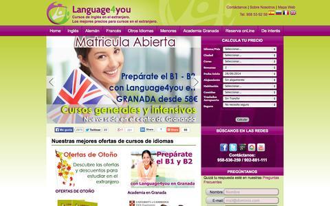 Screenshot of Home Page language4you.com - Cursos de ingles en el extranjero | Trabajar en el extranjero | language4you.com | Language4you - captured Sept. 29, 2014