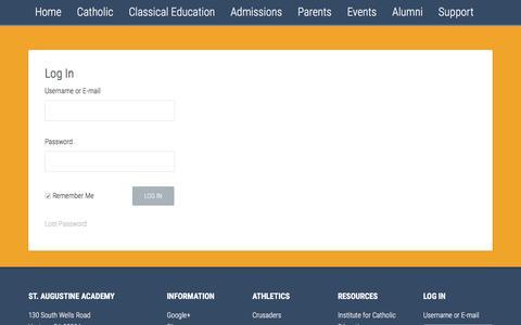Screenshot of Login Page saintaugustineacademy.com - Log In - St. Augustine Academy - captured Nov. 18, 2016