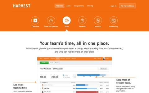 Screenshot of Team Page getharvest.com - Time Tracking for Teams - Harvest - captured April 22, 2018