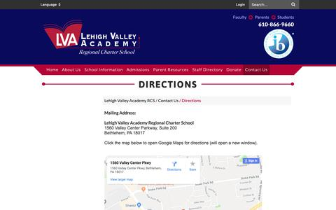 Screenshot of Maps & Directions Page lvacademy.org - Directions - Lehigh Valley Academy RCS - captured Sept. 28, 2018