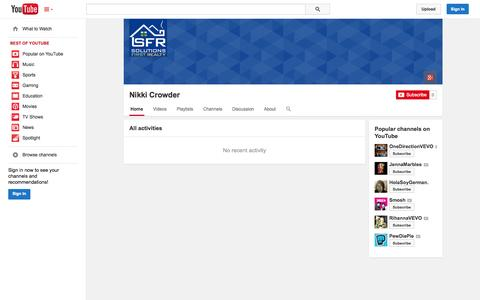 Screenshot of YouTube Page youtube.com - Nikki Crowder  - YouTube - captured Oct. 25, 2014