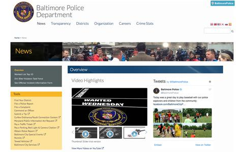 Screenshot of Press Page baltimorepolice.org - Overview | Baltimore Police Department - captured June 22, 2017