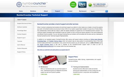 Screenshot of Support Page numbercruncher.com - NumberCruncher | Inventory Management Software | Support - captured Sept. 19, 2014