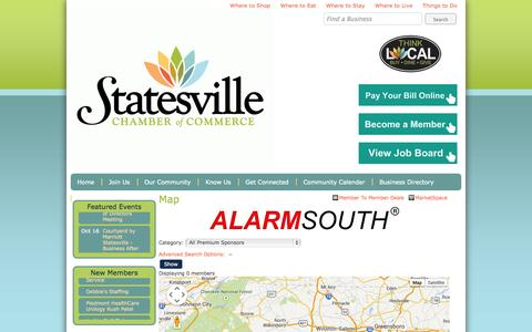 Screenshot of Maps & Directions Page statesvillechamber.org - Map - Statesville Chamber of Commerce - Page Not Found - captured Oct. 3, 2014
