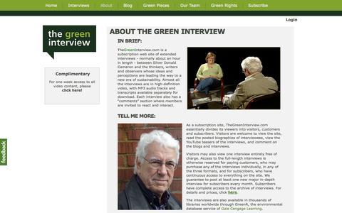 Screenshot of About Page thegreeninterview.com - ABOUT THE GREEN INTERVIEW - The Green Interview - captured Oct. 9, 2014