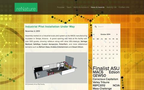 Screenshot of Press Page renatureinc.com - News & Awards — reNature - captured Oct. 7, 2014
