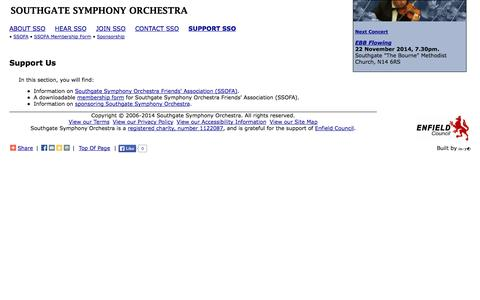 Screenshot of Support Page southgatesymphony.co.uk - Support Us - Southgate Symphony Orchestra - captured Oct. 6, 2014