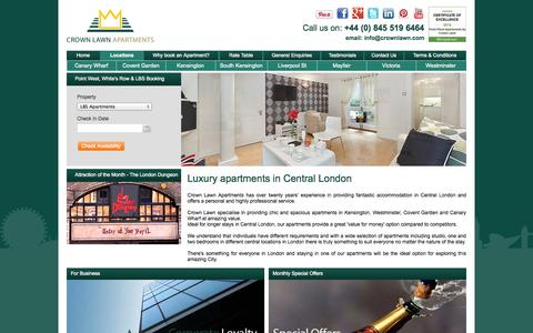 Screenshot of Home Page crownlawn.com - London Apartments, Kensington, Westminster, Covent Garden, Canary Wharf, Docklands - captured Oct. 3, 2014