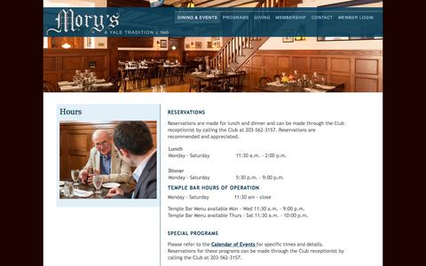 Screenshot of Hours Page morysclub.org - The Mory's Association - New Haven, CT - Hours - captured June 4, 2016