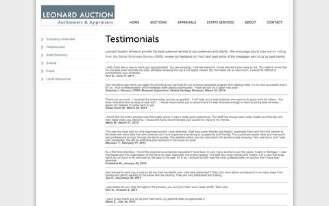 Screenshot of Testimonials Page leonardauction.com - Testimonials from Leonard Auction's Customers - captured Nov. 1, 2014
