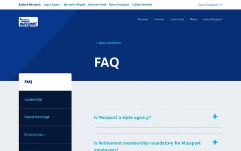 Screenshot of FAQ Page massport.com - Massport FAQ's - captured July 10, 2019