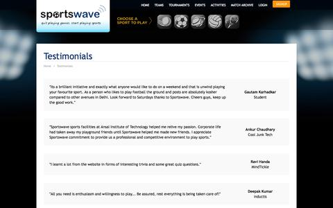 Screenshot of Testimonials Page sportswave.co.in - Quit playing games, start playing sports | Sportswave - captured Sept. 23, 2014