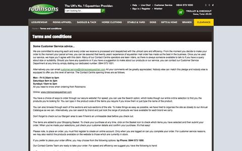Screenshot of Terms Page robinsonsequestrian.com - Terms and conditions - captured Sept. 19, 2014