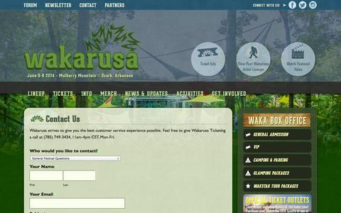 Screenshot of Contact Page wakarusa.com - Contact Us - Wakarusa Music Festival - captured Sept. 26, 2014