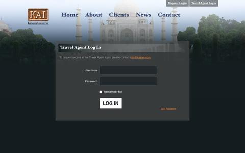 Screenshot of Login Page kainyc.com - Travel Agent Log In : KAI - captured Feb. 12, 2016