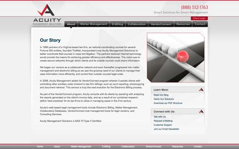 Screenshot of About Page acuitymanagement.com - Software for Law Firms   Law Office Management Tools - captured Oct. 4, 2014