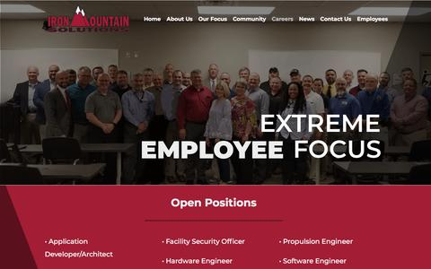 Screenshot of Jobs Page ironmountainsolutions.com - Careers | IronMountain Solutions | Employment Opportunities - captured Aug. 13, 2019