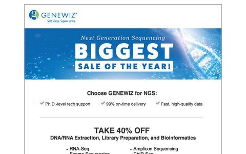 Screenshot of Landing Page genewiz.com - NGS Biggest Sale of the Year - captured Dec. 26, 2016
