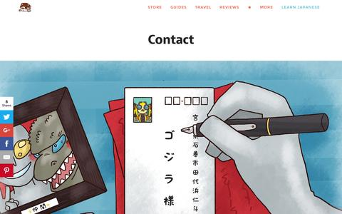 Screenshot of Contact Page tofugu.com - Contact - Tofugu - captured Oct. 2, 2015