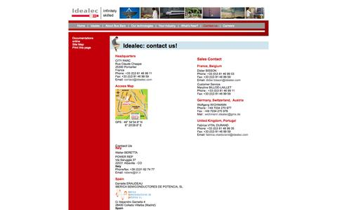 Screenshot of Contact Page idealec.com - Idealec laminated bus bars: Idealec: contact us! - captured Oct. 6, 2014
