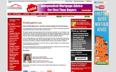 Screenshot of About Page firstrungnow.com - About Us - First Time Buyers' Website - Helen Adams - First Rung Now - captured Oct. 6, 2014