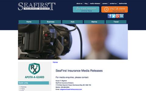 Screenshot of Press Page seafirstinsurance.com - SeaFirst Insurance Media Releases | Seafirst Insurance - captured Sept. 30, 2014