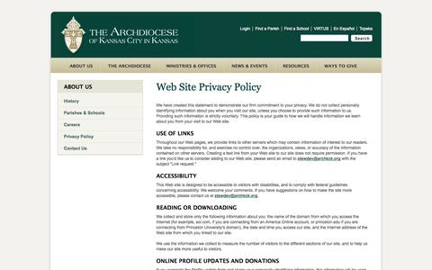 Screenshot of About Page Privacy Page archkck.org - Privacy Policy - captured Oct. 23, 2014