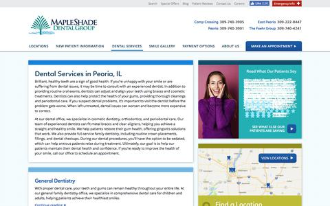 Screenshot of Services Page mapleshadecenter.com - Dental Services in Peoria,Peoria | Maple Shade Dental Group - captured July 7, 2018
