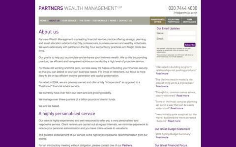 Screenshot of About Page partnerswealthmanagement.co.uk - Partners Wealth Management | About us | Partners Wealth Management - captured Sept. 29, 2014