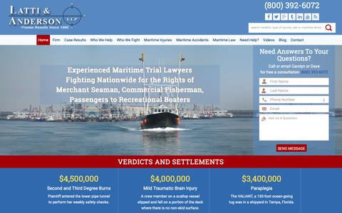 Screenshot of Home Page lattianderson.com - Maritime Attorneys for Injuries at Sea - captured Sept. 27, 2018