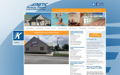 Screenshot of Contact Page Locations Page kineticptpa.com - LOCATIONS | Kinetic Physical Therapy - captured Oct. 25, 2018