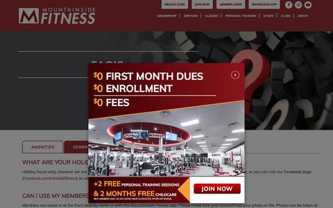 Screenshot of FAQ Page mountainsidefitness.com - FAQ's - Mountainside Fitness - captured Sept. 23, 2018