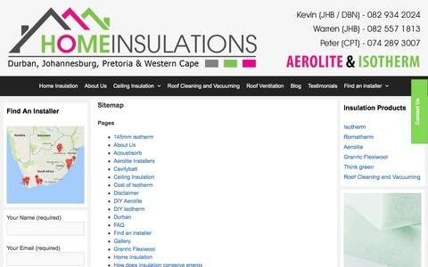 Screenshot of Site Map Page homeinsulations.co.za - Sitemap | Home Insulations - captured May 21, 2017