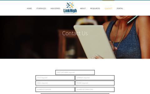 Screenshot of Contact Page linkhigh.com - Contact Us - captured Oct. 6, 2017