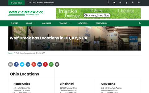 Screenshot of Locations Page wolfcreekcompany.com - Wolf Creek has Locations in OH, KY, & PA - Wolf Creek Company - captured Oct. 20, 2018