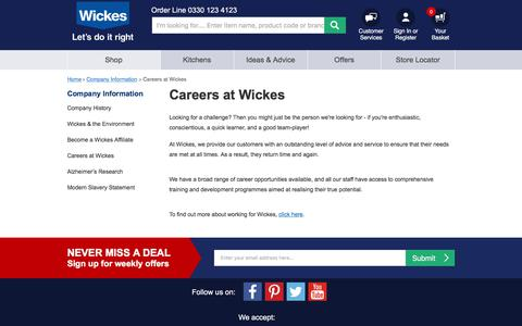 Screenshot of Jobs Page wickes.co.uk - Careers at Wickes | Wickes.co.uk - captured Feb. 6, 2018