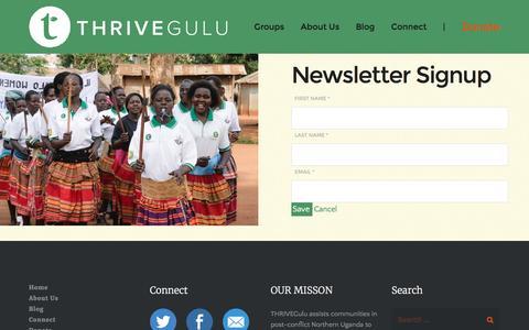 Screenshot of Signup Page thrivegulu.org - Newsletter Signup – THRIVEGulu - captured Dec. 23, 2016