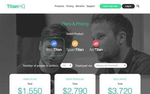 Screenshot of Pricing Page spamtitan.com - Pricing | TitanHQ. Easy network security. AntiSpam. Web filtering. Email archiving. - captured Oct. 15, 2015