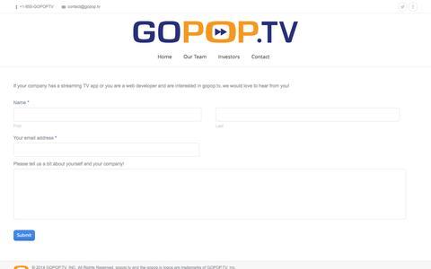 Screenshot of Developers Page gopop.tv - gopop.tv |   developer - captured Nov. 2, 2014