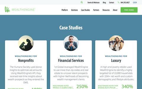 Screenshot of Case Studies Page wealthengine.com - Case Studies - captured Oct. 12, 2019