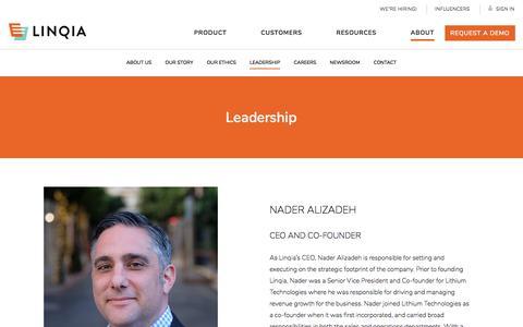 Screenshot of Team Page linqia.com - Linqia's Leadership Team |Linqia - captured Feb. 8, 2020
