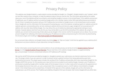 """Screenshot of Privacy Page idreamedofthis.com - Privacy Policy - @iDreamedOfThis - The """"No BS"""" Culture & Travel Photography Blog - captured June 24, 2017"""